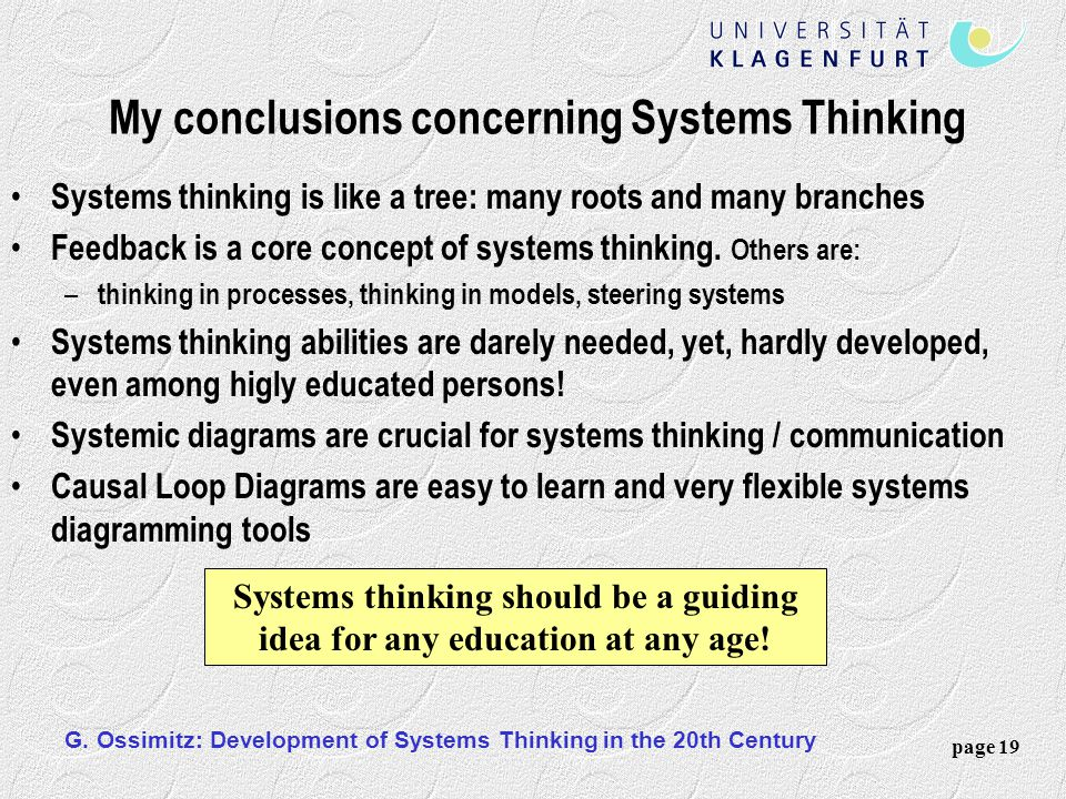 My conclusions concerning Systems Thinking