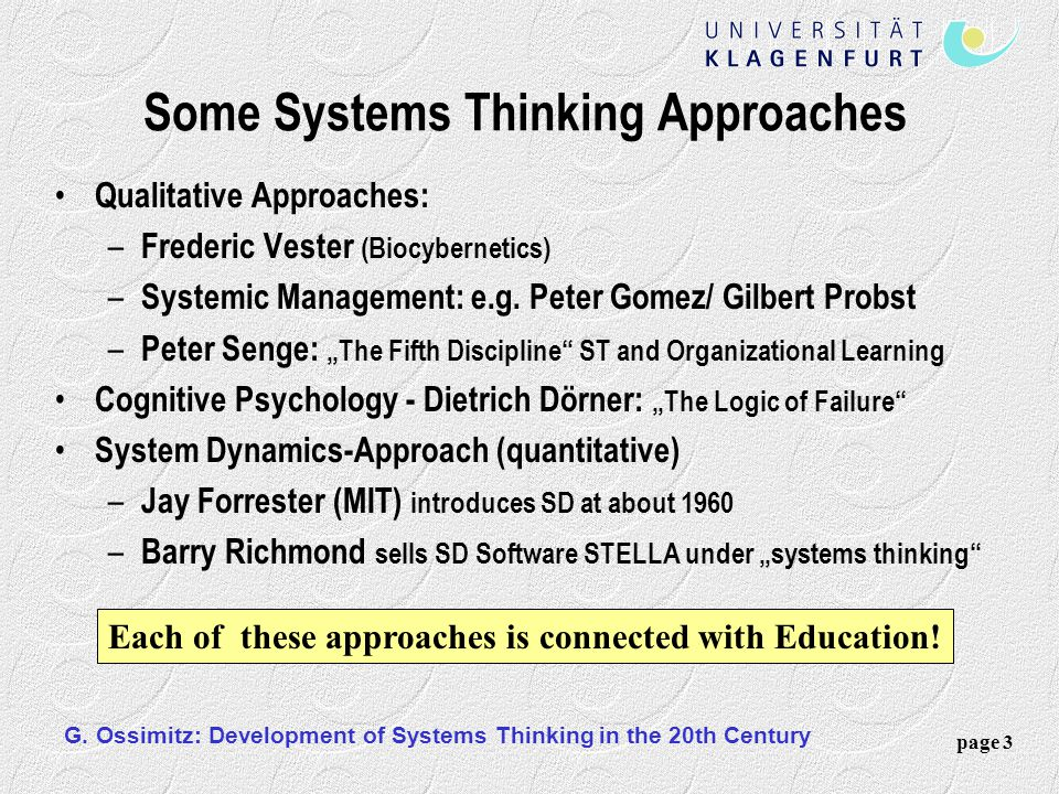 Some Systems Thinking Approaches