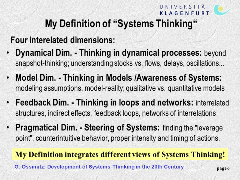 My Definition of Systems Thinking