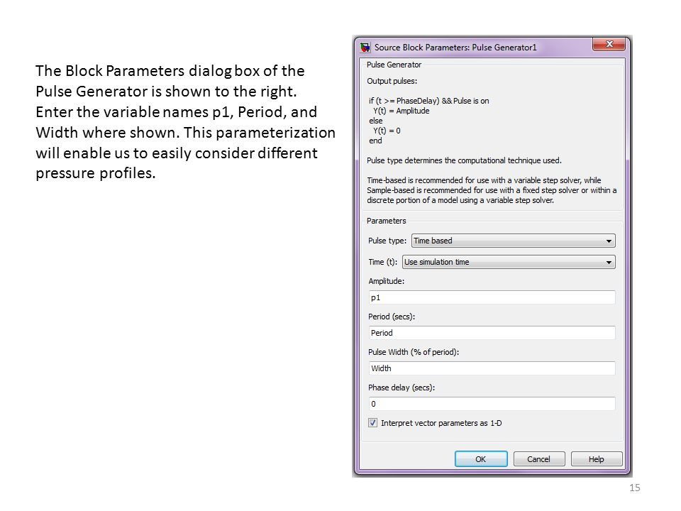The Block Parameters dialog box of the Pulse Generator is shown to the right.