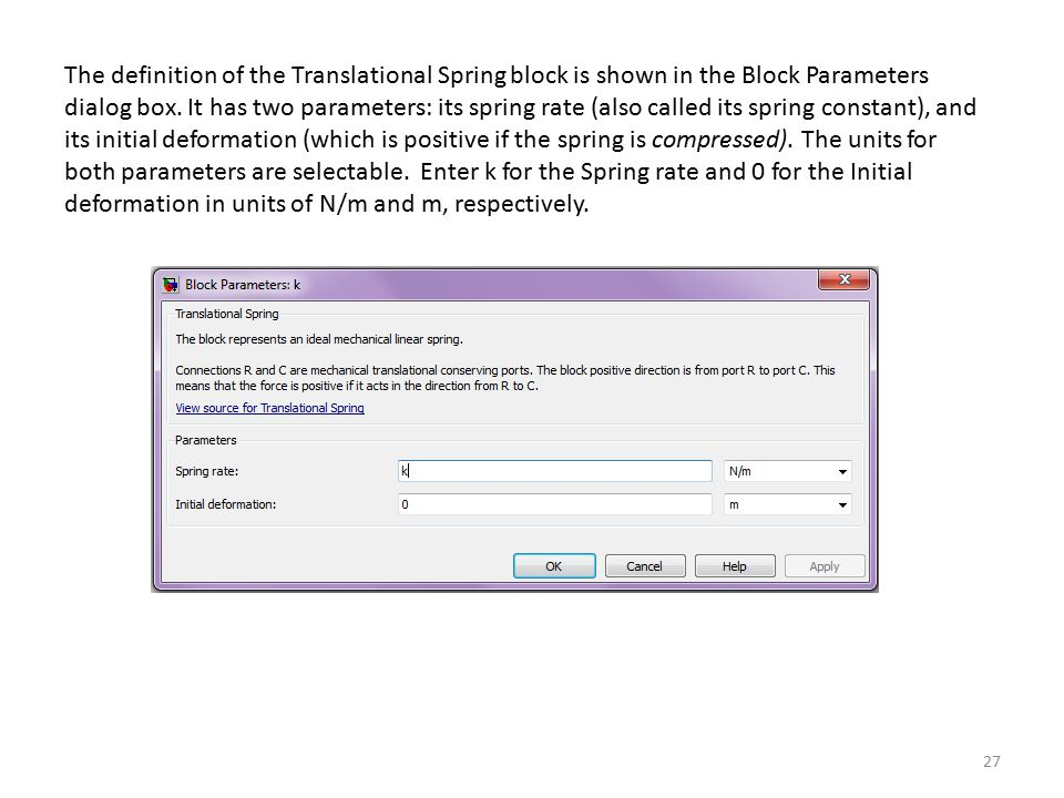 The definition of the Translational Spring block is shown in the Block Parameters dialog box.