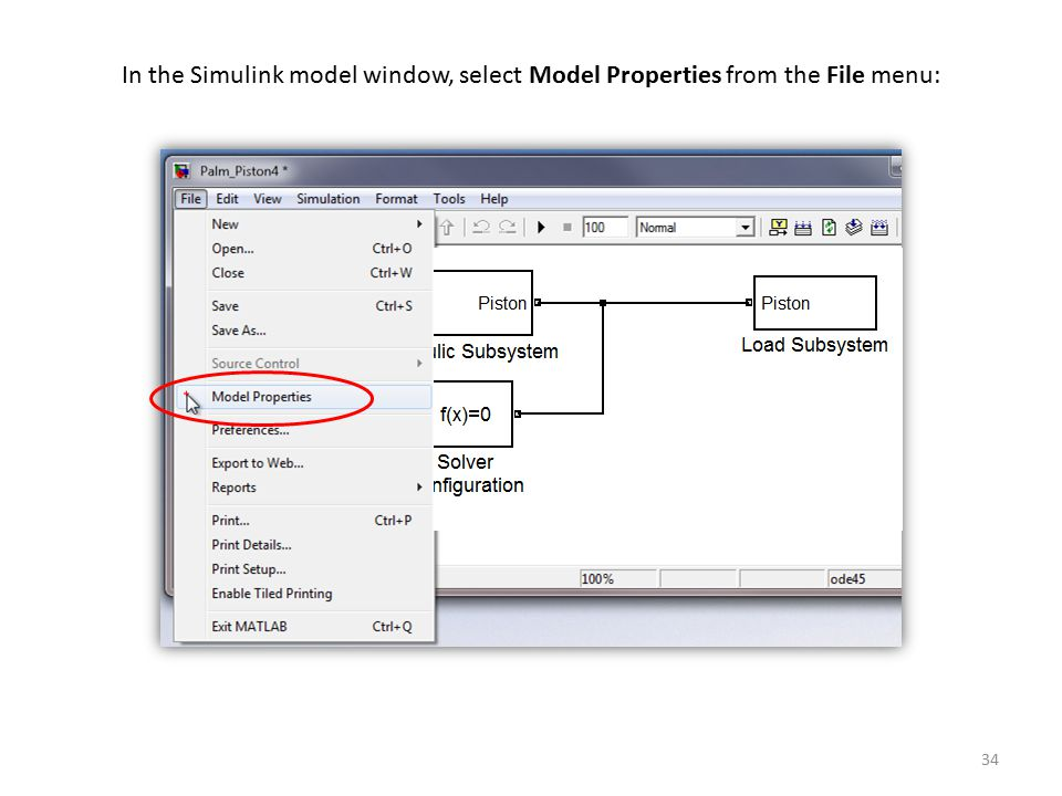 In the Simulink model window, select Model Properties from the File menu: