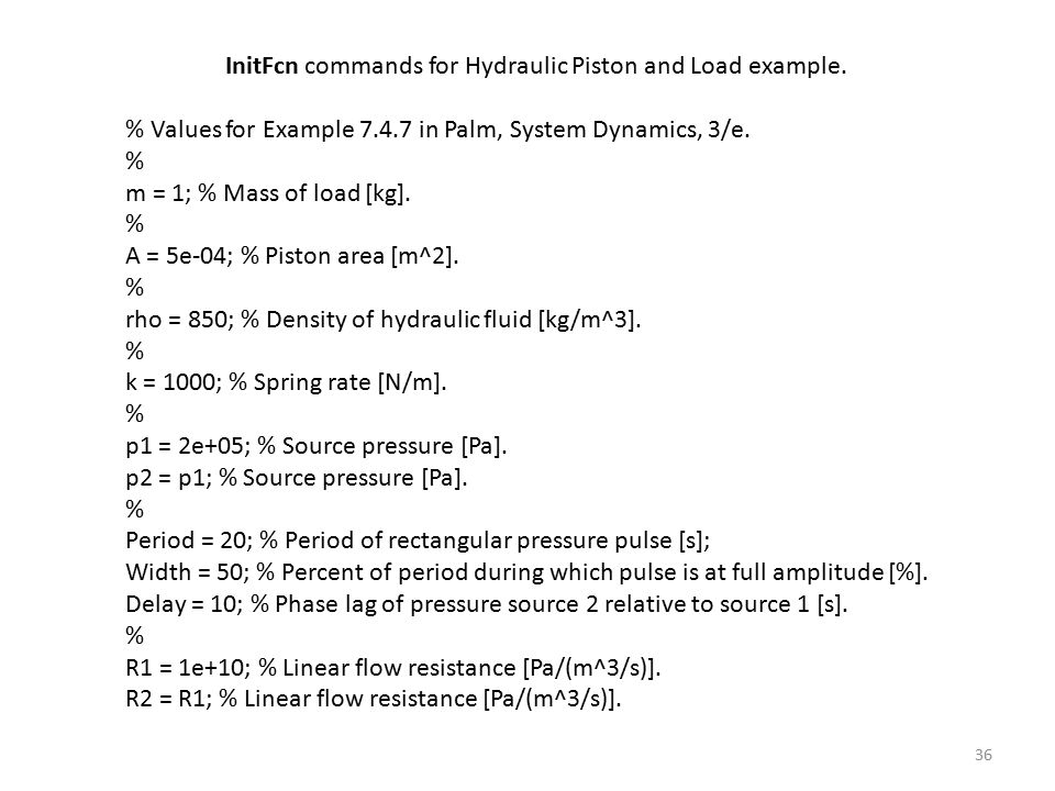 InitFcn commands for Hydraulic Piston and Load example.