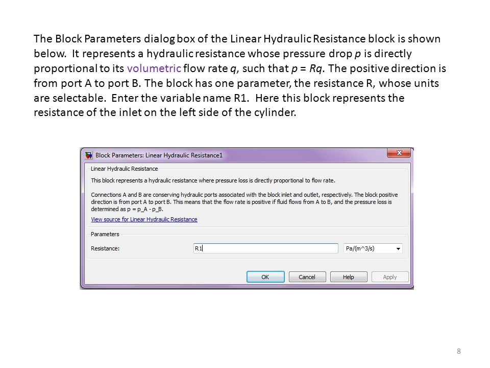 The Block Parameters dialog box of the Linear Hydraulic Resistance block is shown below.