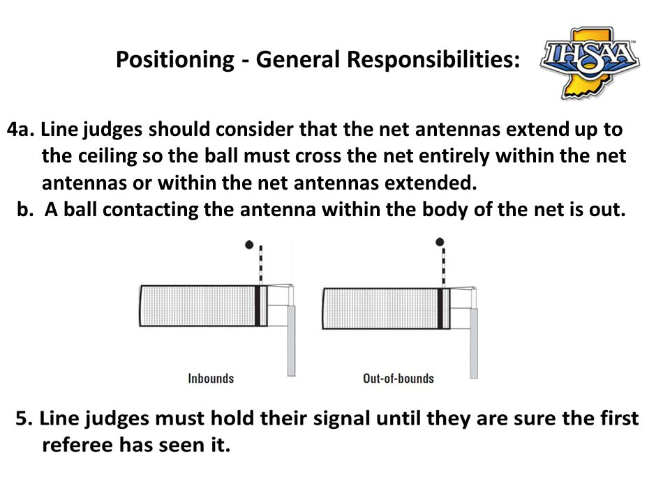 4a. Line judges should consider that the net antennas extend up to