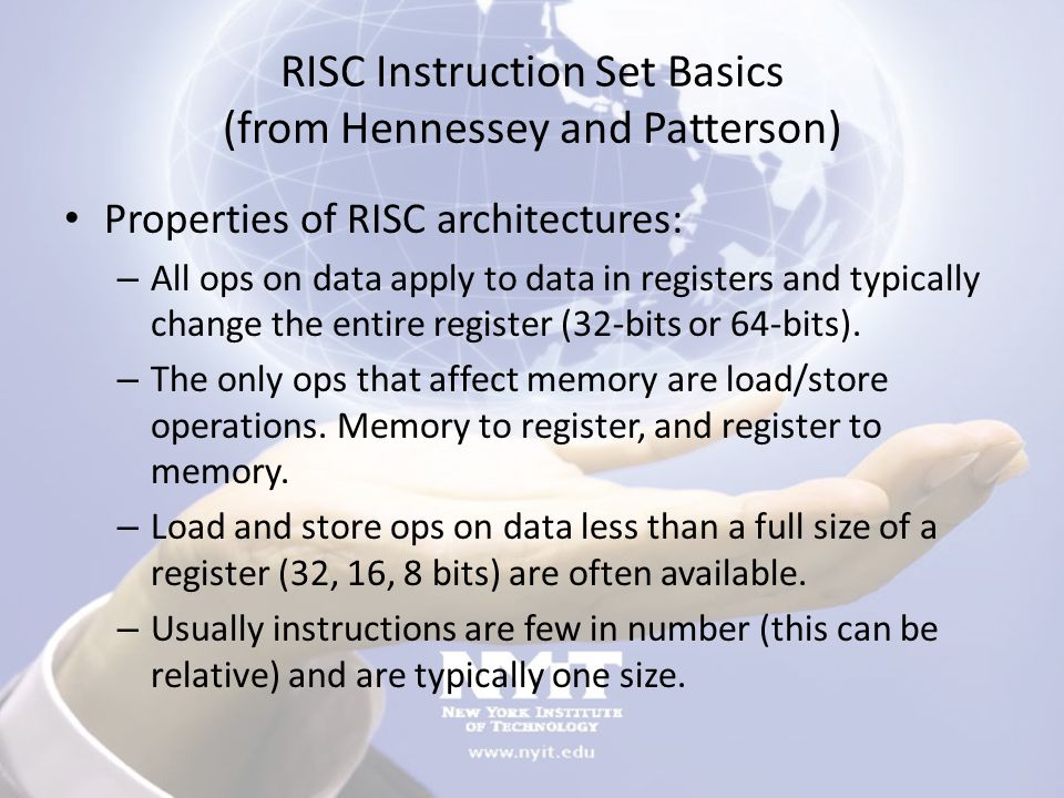 RISC Instruction Set Basics (from Hennessey and Patterson)
