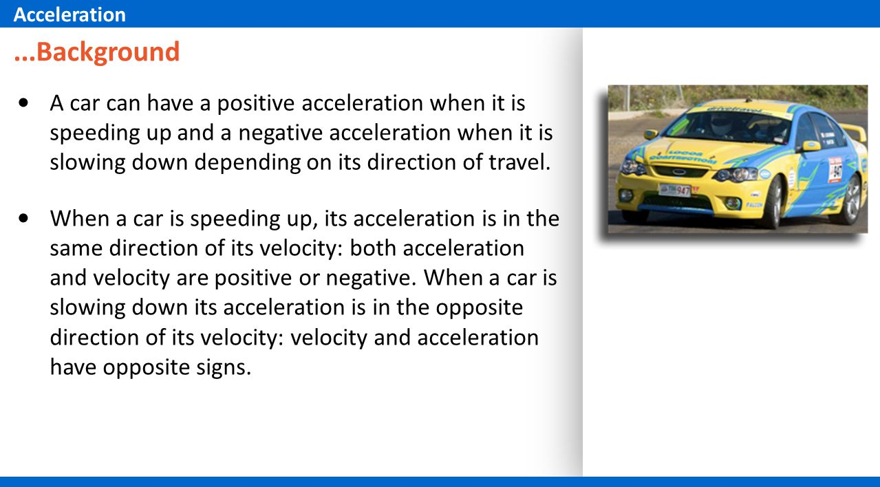 Acceleration ...Background.