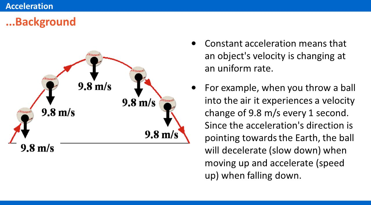 Acceleration ...Background. Constant acceleration means that an object s velocity is changing at an uniform rate.