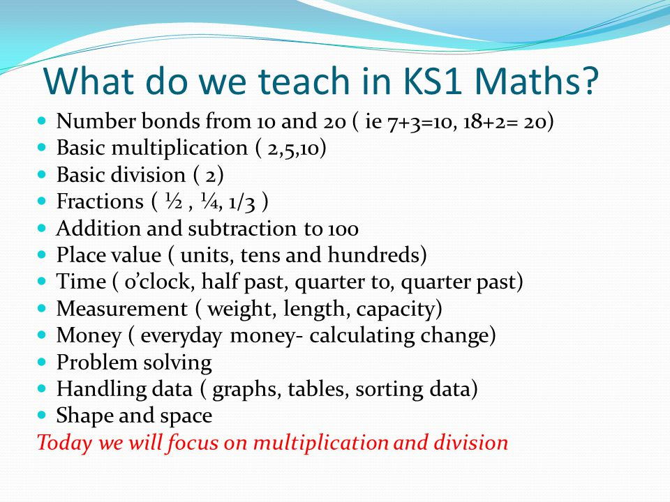 What do we teach in KS1 Maths