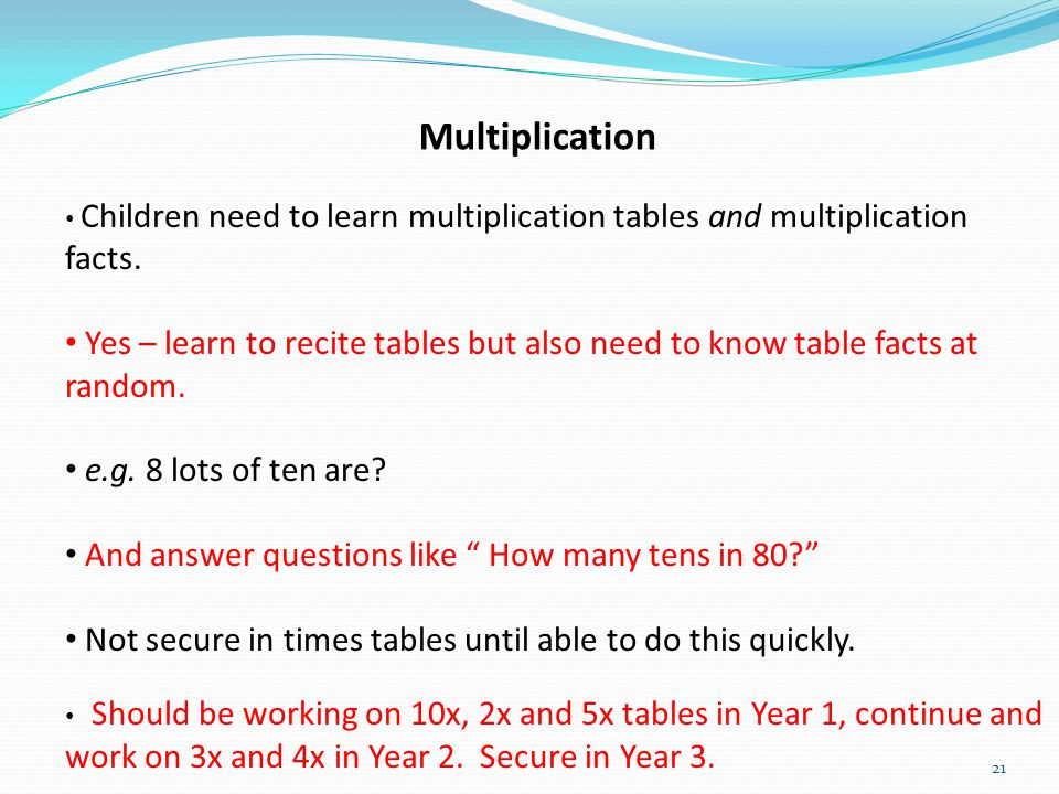 Multiplication Children need to learn multiplication tables and multiplication facts.