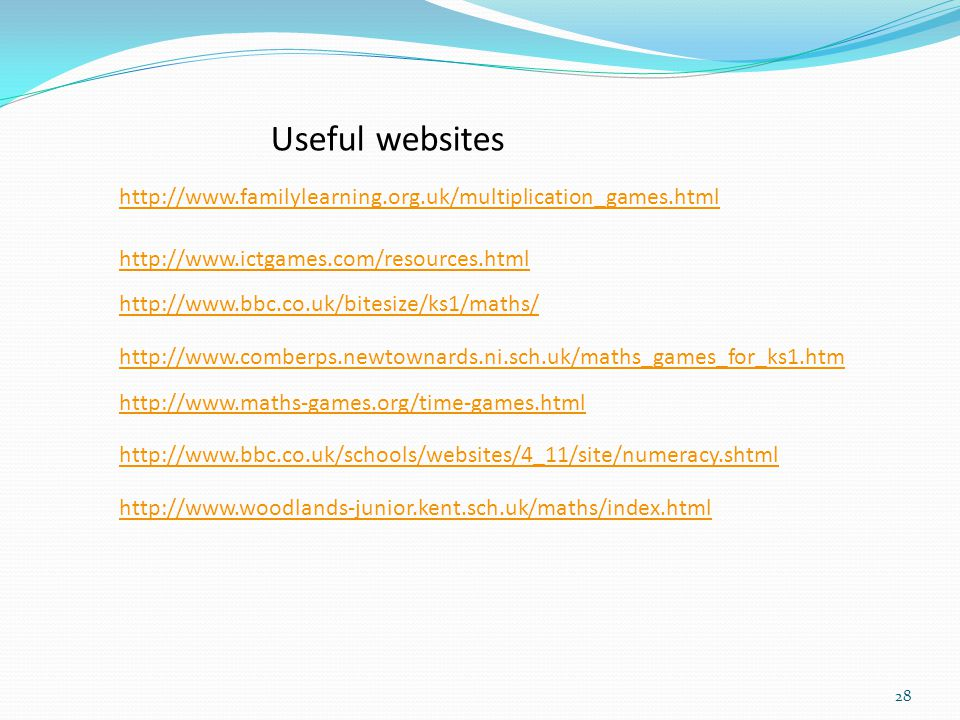 Useful websites http://www.familylearning.org.uk/multiplication_games.html. http://www.ictgames.com/resources.html.
