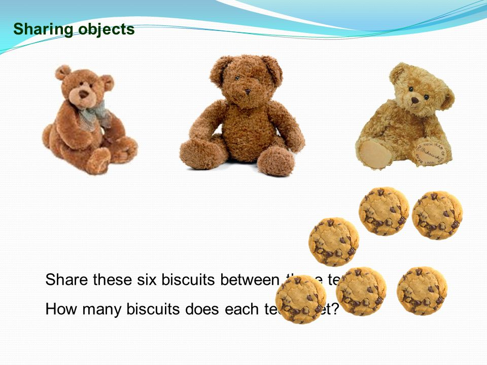 Sharing objects Share these six biscuits between three teddies.