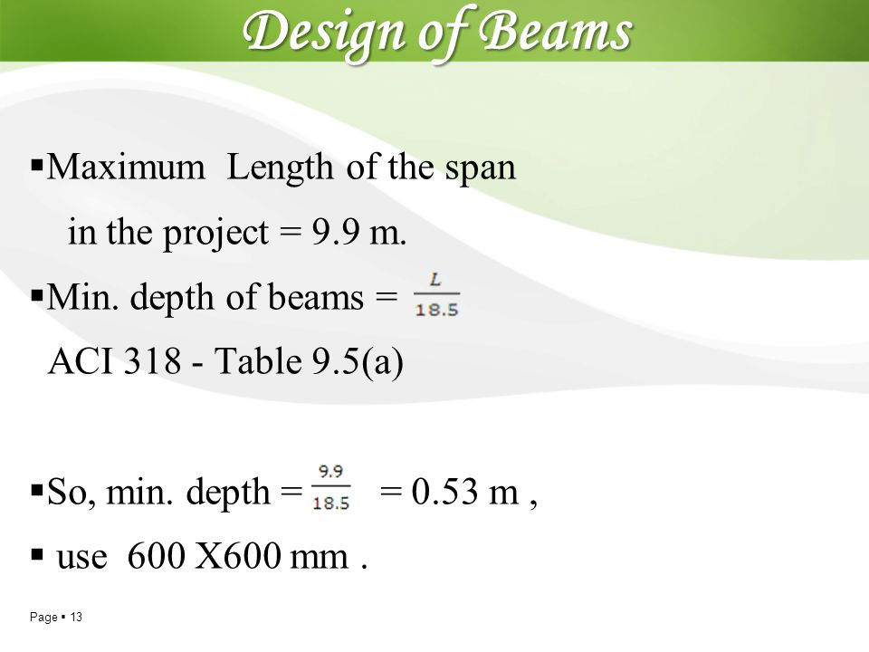 Design of Beams Maximum Length of the span in the project = 9.9 m.