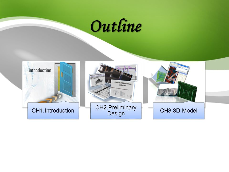 Outline CH1.Introduction CH2.Preliminary Design CH3.3D Model