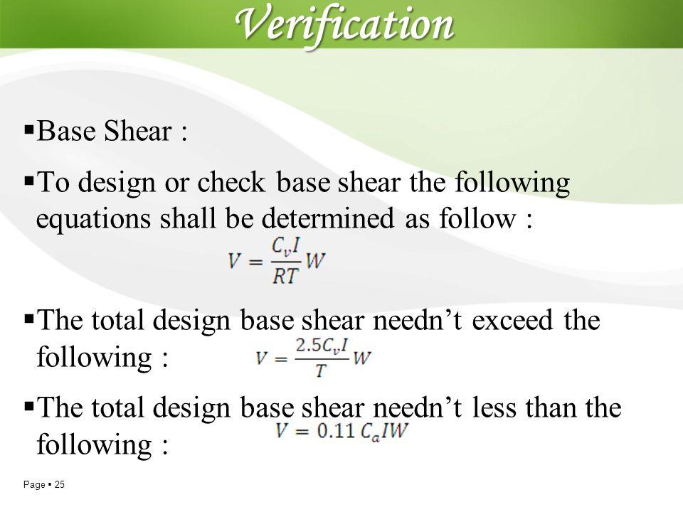 Verification Base Shear :