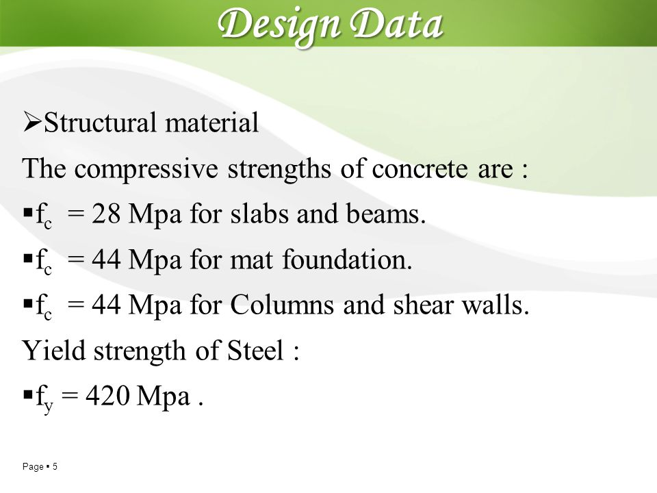 Design Data Structural material