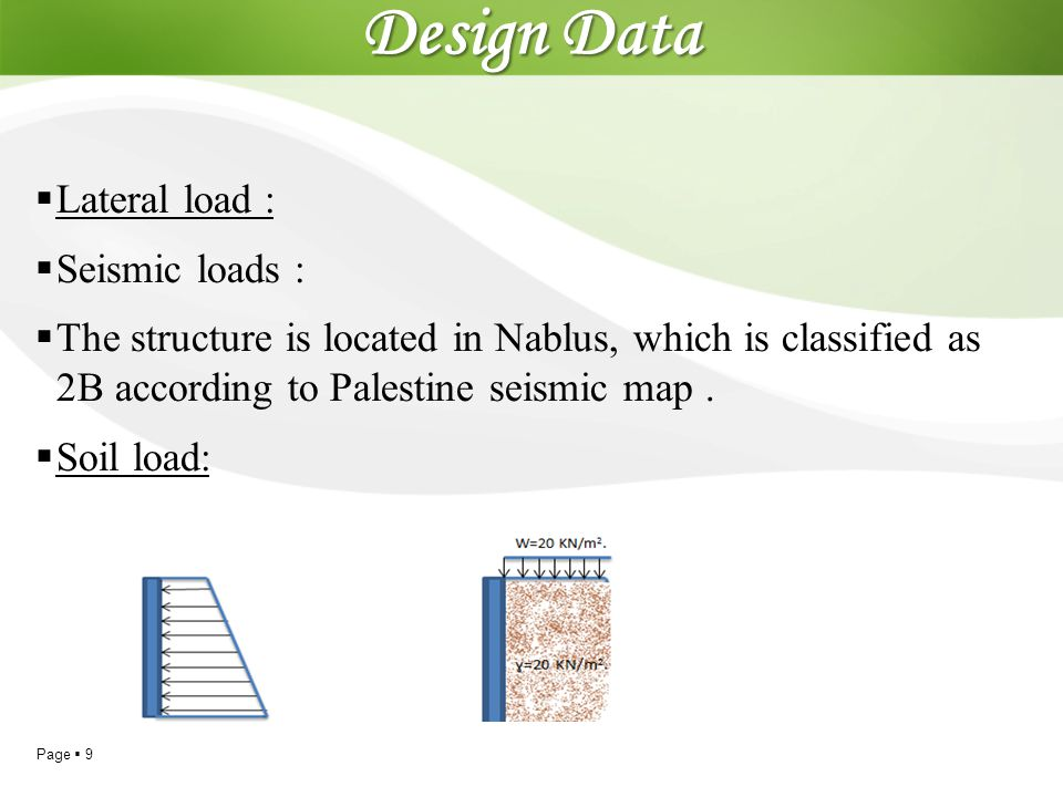 Design Data Lateral load : Seismic loads :