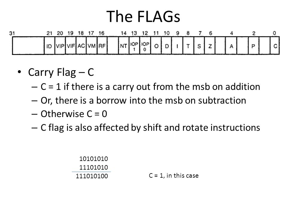 The FLAGs Carry Flag – C. C = 1 if there is a carry out from the msb on addition. Or, there is a borrow into the msb on subtraction.