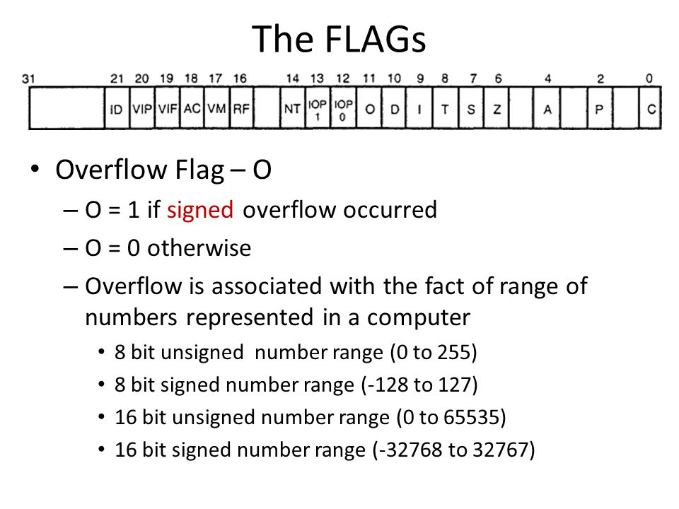 The FLAGs Overflow Flag – O O = 1 if signed overflow occurred