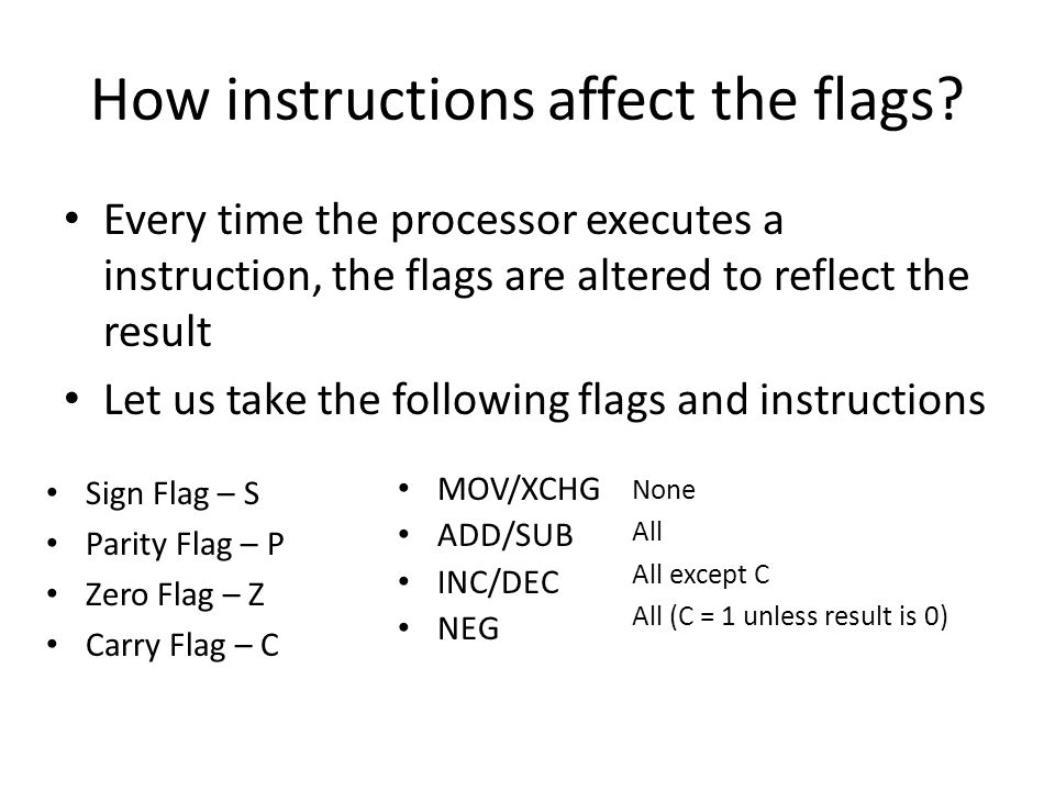 How instructions affect the flags