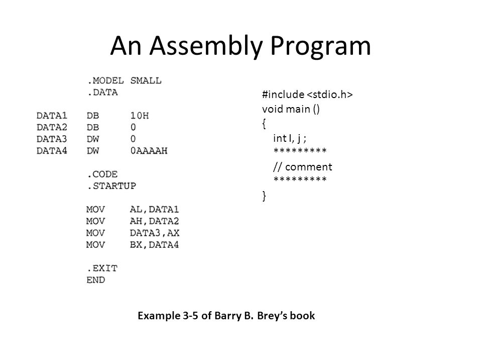 An Assembly Program #include <stdio.h> void main () {