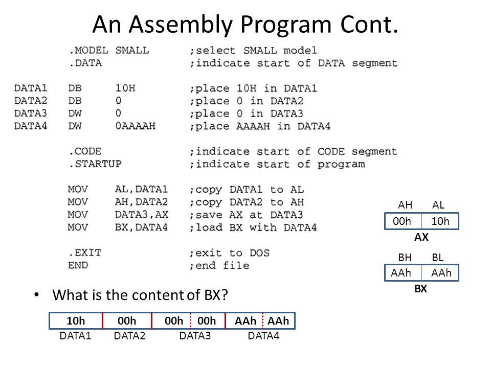 An Assembly Program Cont.