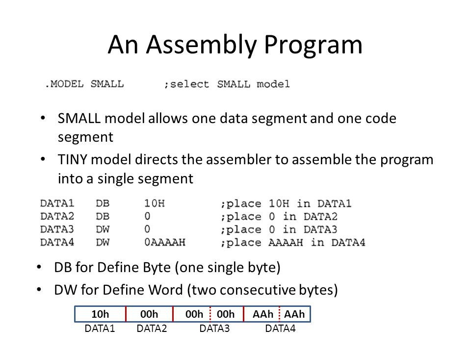An Assembly Program SMALL model allows one data segment and one code segment.