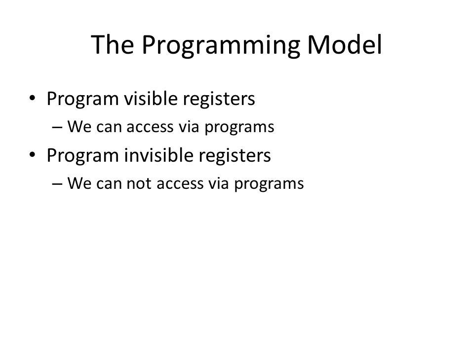The Programming Model Program visible registers