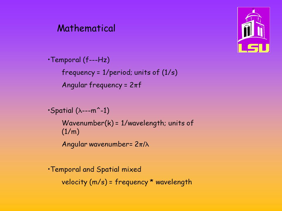 Mathematical Temporal (f---Hz) frequency = 1/period; units of (1/s)