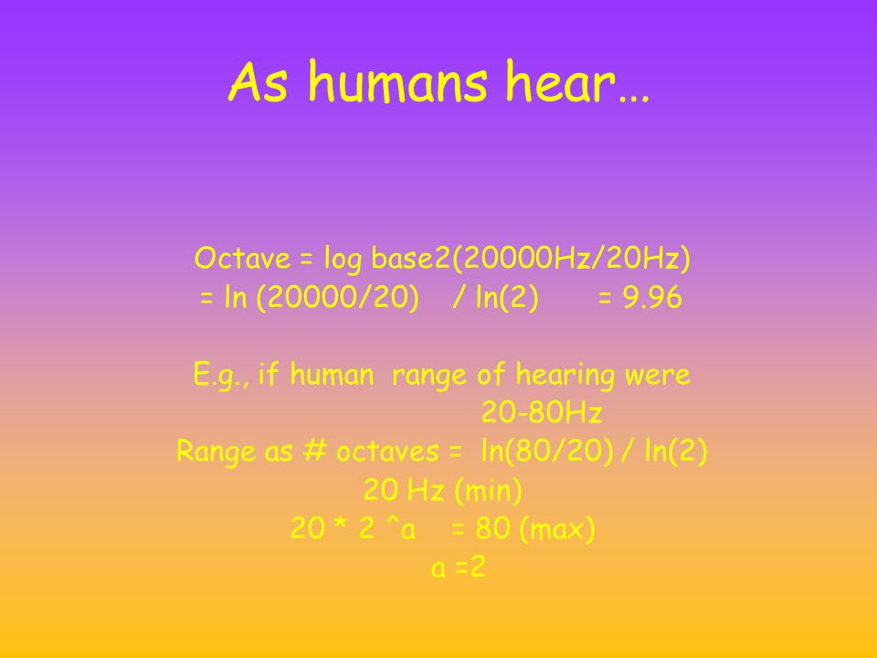 As humans hear… Octave = log base2(20000Hz/20Hz)