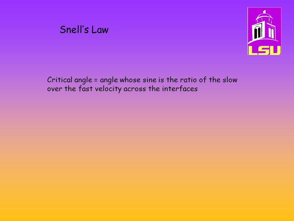 Snell's Law Critical angle = angle whose sine is the ratio of the slow over the fast velocity across the interfaces.