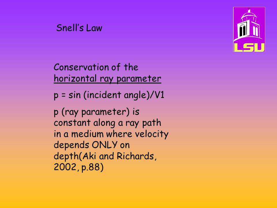 Snell's Law Conservation of the horizontal ray parameter. p = sin (incident angle)/V1.