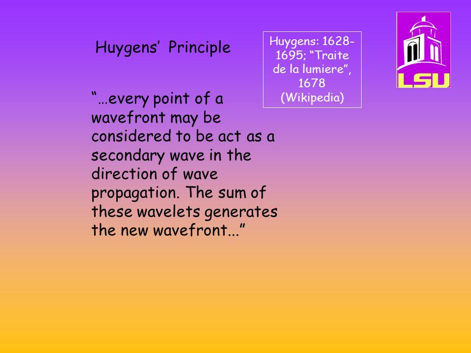 Huygens: 1628-1695; Traite de la lumiere , 1678 (Wikipedia)