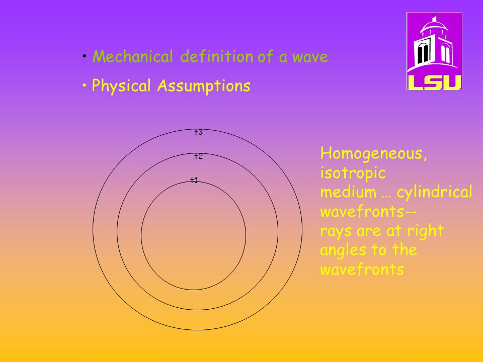 Mechanical definition of a wave Physical Assumptions