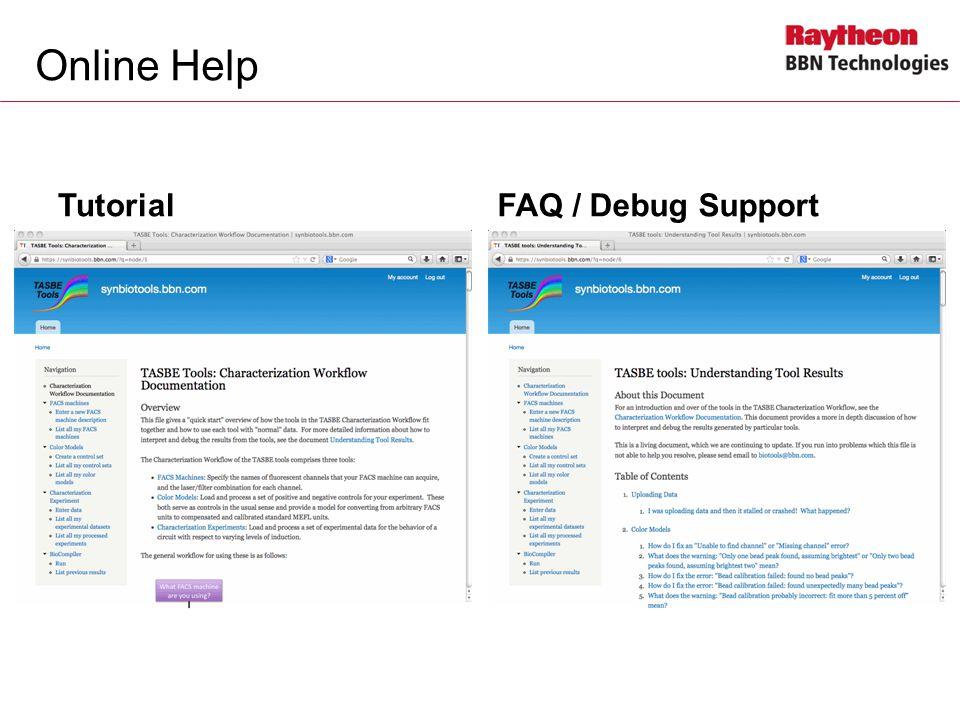 Online Help Tutorial FAQ / Debug Support