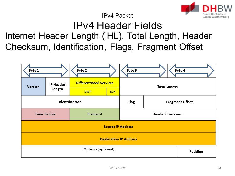 IPv4 Packet IPv4 Header Fields