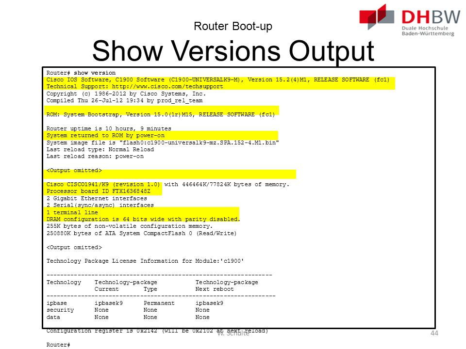 Router Boot-up Show Versions Output