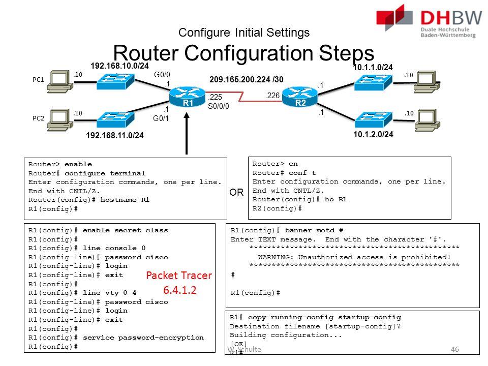 Configure Initial Settings Router Configuration Steps