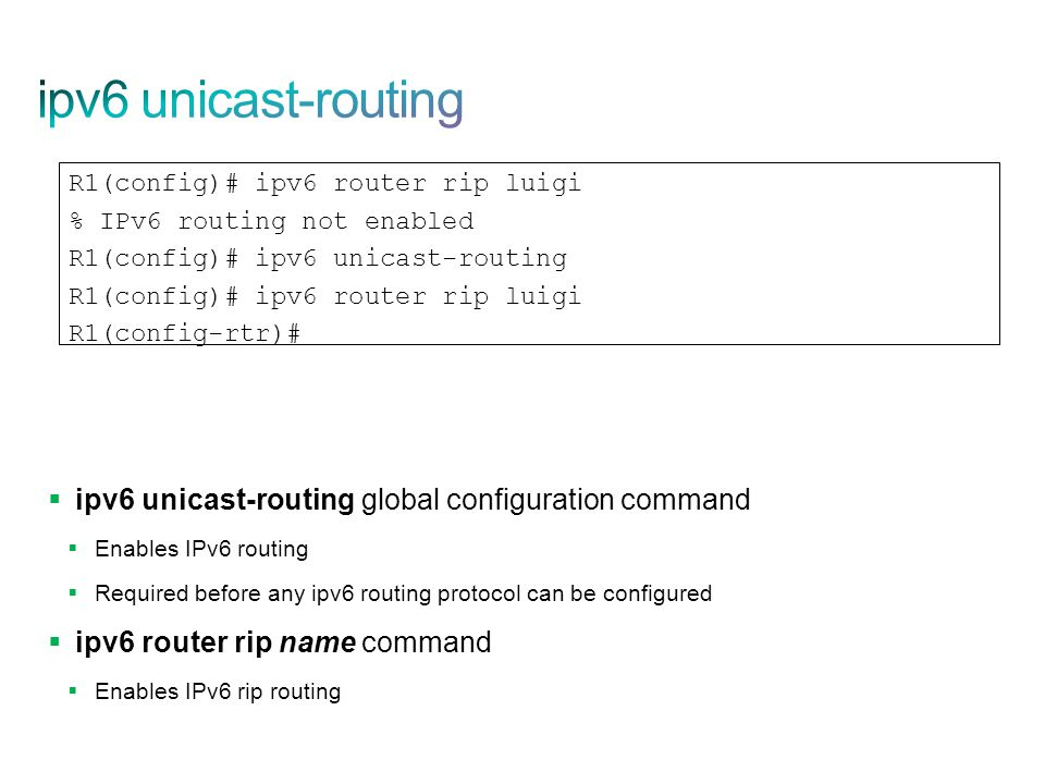 ipv6 unicast-routing ipv6 unicast-routing global configuration command