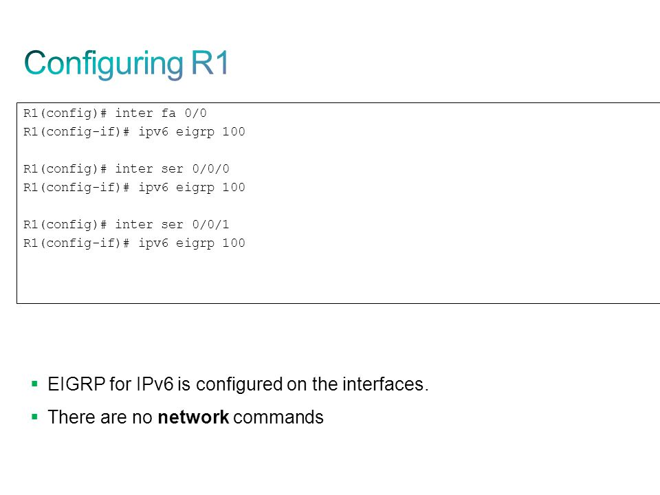 Configuring R1 EIGRP for IPv6 is configured on the interfaces.