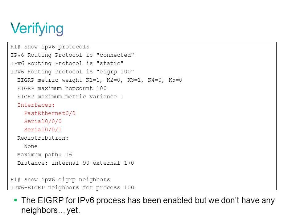 Verifying R1# show ipv6 protocols. IPv6 Routing Protocol is connected IPv6 Routing Protocol is static