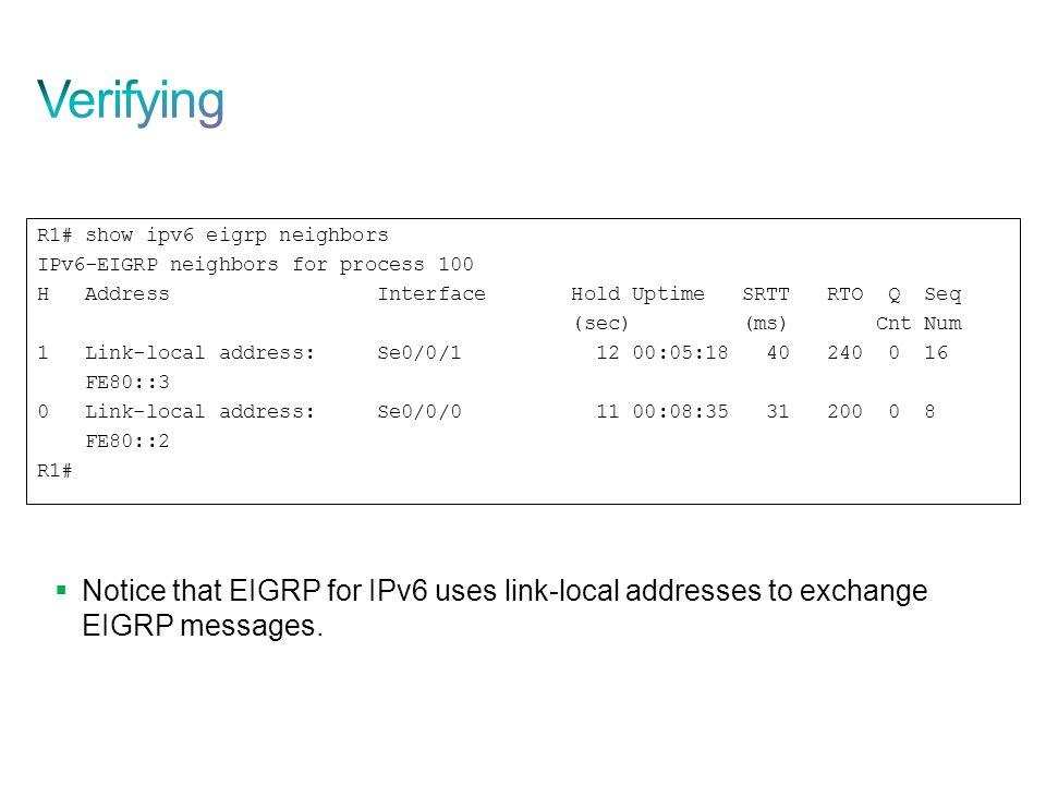 Verifying R1# show ipv6 eigrp neighbors. IPv6-EIGRP neighbors for process 100.