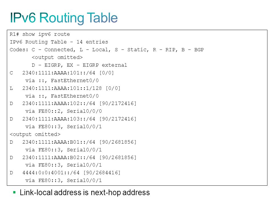 IPv6 Routing Table Link-local address is next-hop address