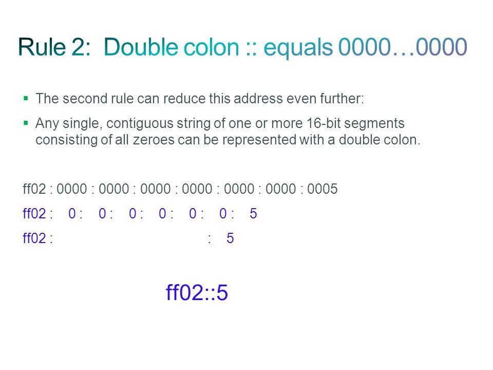 Rule 2: Double colon :: equals 0000…0000