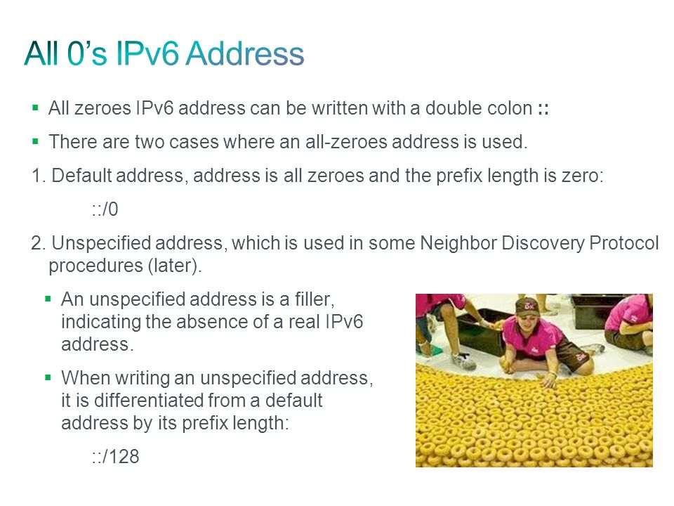 All 0's IPv6 Address All zeroes IPv6 address can be written with a double colon :: There are two cases where an all-zeroes address is used.