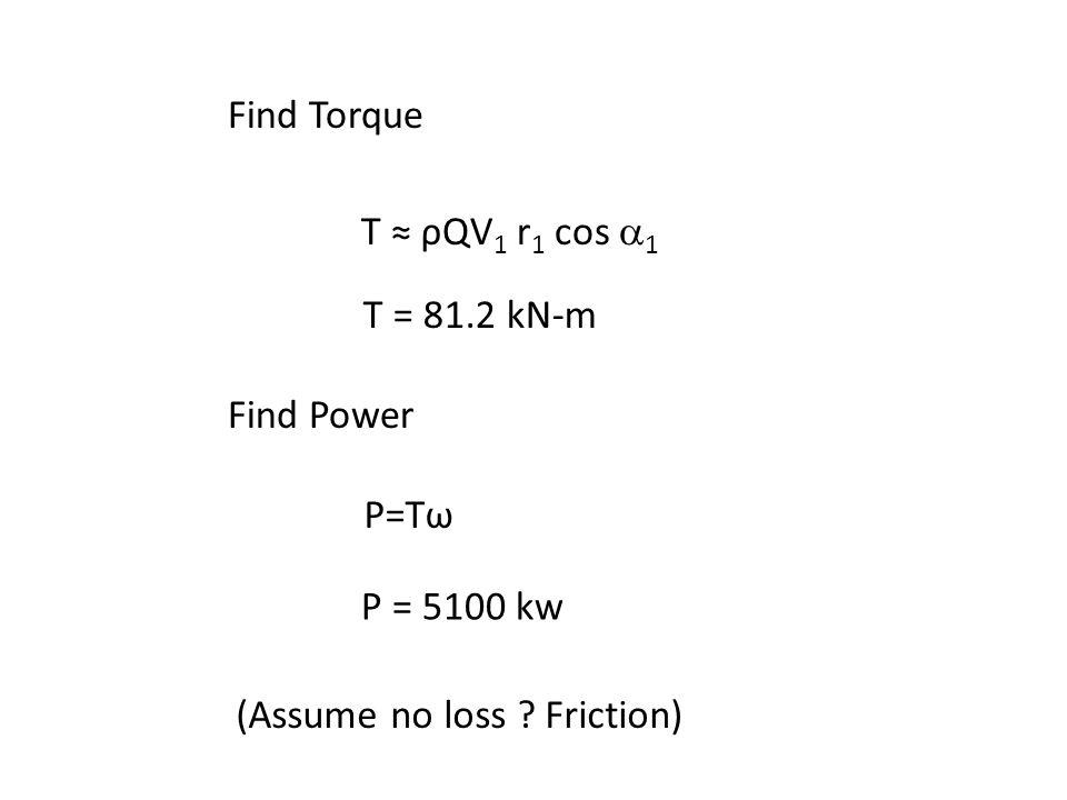 Find Torque T ≈ ρQV1 r1 cos a1. T = 81.2 kN-m. Find Power.