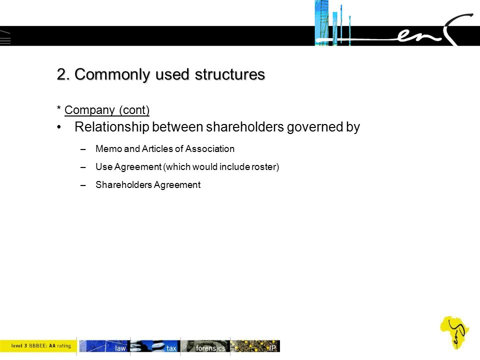 2. Commonly used structures * Company (cont)