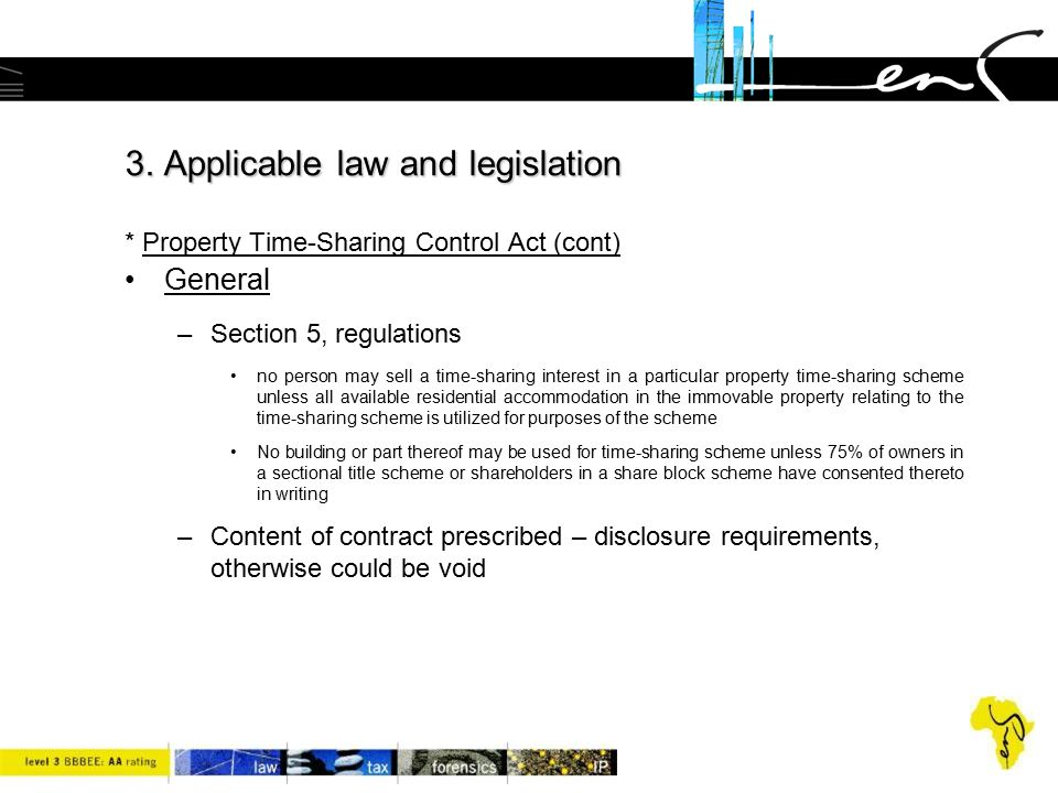 3. Applicable law and legislation