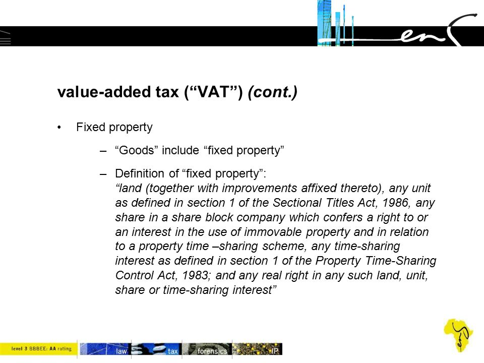 value-added tax ( VAT ) (cont.)