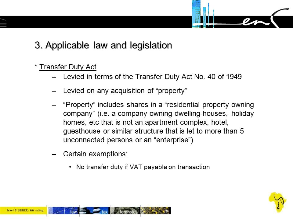 3. Applicable law and legislation * Transfer Duty Act